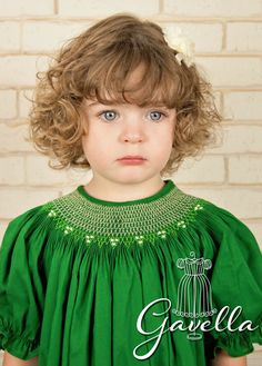 Girls Custom Smocked Cotton Bishop Dress with Ruffle by gavella