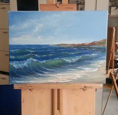 Acrylic Painting Lessons, Painting & Drawing, Seascape Paintings, Landscape Paintings, Watercolor Landscape, Watercolor Art, Ocean Wave Painting, Paint Photography, Beach Art