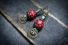 tribal earrings • Mali terra cotta beads • red and white dots • natural turquoise squares • ethnic jewelry • dangle • gemstone • gipsy boho