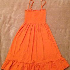 Ann Taylor Loft dress. Orange colored cotton mini dress with detachable straps. Stretchy upper body. Barely worn. Ann taylor Loft Dresses Mini