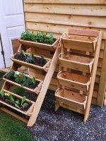 Losse houten plantenbakken in etages.