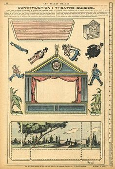 """A tiny little theater to construct. This could be used as a pattern to create other """"theaters"""". Print and cut images of family and friends for the """"actors"""", etc. Construction: Theatre-Guignol from Les Belles Images Vintage Ephemera, Vintage Paper, Image Paris, Libros Pop-up, Paper Art, Paper Crafts, Toy Theatre, Paper People, Origami"""