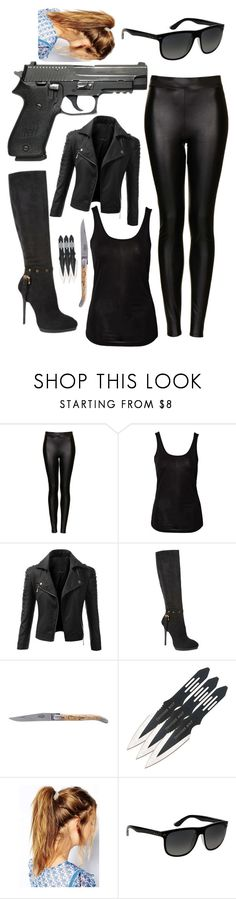"""Spy outfit"" by hannahgage1 ❤ liked on Polyvore featuring Topshop, Sally&Circle, Doublju, Love Moschino, Forge de Laguiole, Deepa Gurnani, Ray-Ban, outfit and spy"