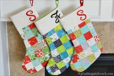 Quilted Christmas Stockings by From Pixels to Patchwork.  Includes links to the template and tutorial she used.