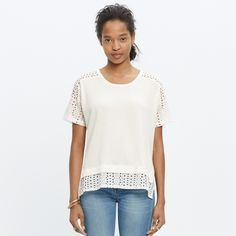 Madewell Eyelet Sweater A short-sleeve sweater with geometric eyelet at the shoulders and hem for an instantly layered look. So airy and no-fuss sexy.   •Worn and washed once, in great condition  •High-twist cotton. •Hand wash. Madewell Tops
