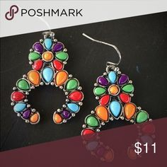 Colorful Squash blossom Earrings Brand new multi colorful squash blossom earrings. Tribal, Boho, hippie, southwest, southern, western, rodeo, cowgirl style. Jewelry Earrings