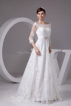 A-line Lace Bateau Natural Waist Court Train Zipper 3/4 Length Sleeve Crystal White Wedding Dress