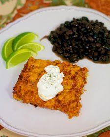 Chicken Tamale Casserole - I made this and it was awesome. I used rotisserie chicken and added half a small can of mild green chiles to the chicken meat mixture. I substituted Greek yogurt for sour cream to make it healthier. Was a big hit with my husband.