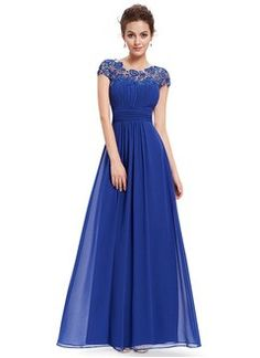 A-Line/Princess Scoop Neck Floor-Length Chiffon Evening Dress With Ruffle Lace Beading                                                                                                                                                     More