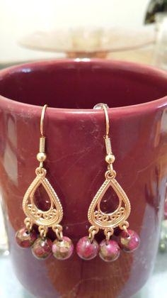 Earrings with mosaic Quartz.