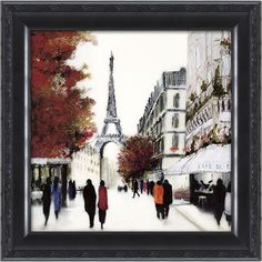 Paris Street Scene Framed Wall Art ($72) ❤ liked on Polyvore featuring home, home decor, wall art, eiffel tower wall art, framed wall art, parisian home decor, paris wall art and wall street art