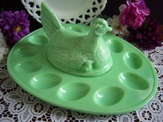 L. E. Smith Jadeite Hen on Nest Egg Tray - Jadeite Deviled Egg Plate - L. E. Smith Jadeite - Green Milk Glass - Vintage Kitchen - Easter