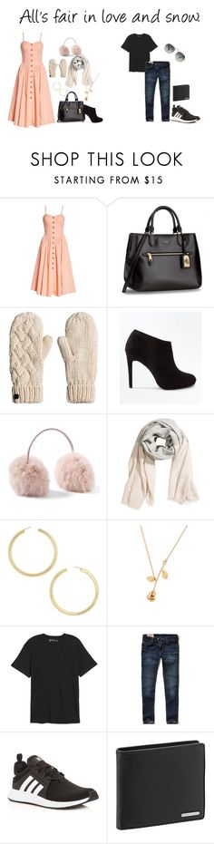 """""""All's fair in love and snow."""" by fashionmfanatic ❤ liked on Polyvore featuring Free People, New Look, BaubleBar, Public Opinion, Hollister Co., adidas, Porsche Design, Ray-Ban, love and couple"""