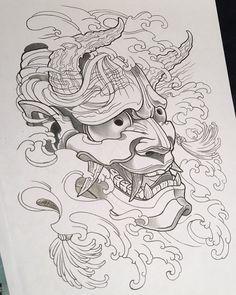 """좋아요 82개, 댓글 3개 - Instagram의 Sheridin Aka. Sheri Tattoo(@sheridizzleyo)님: """"Trying my hand at a black and grey Hannya #Hannya #tattooArt #oriental #tattooflash #drawing…"""""""