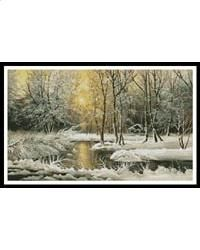 "Golden Winter Lake: This counted cross stitch pattern is of a Winter Landscape. Only full cross stitches are used...    	 Manufacturer:	 	Artecy Cross Stitch Category:	 	Winter SKU:	 	3110 ProductType:	 	Book or Leaflet  Completed Size:	 	19.5""W x 11.5""H on 14ct Stitch Count:	 	270w x 162h Floss:	 	49 DMC Cotton Colours (floss #s listed online) $15.95"