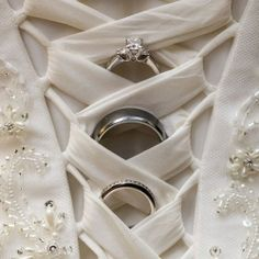 We love how this photo shows off both the rings and the intricate details of the gown!  This is a must!
