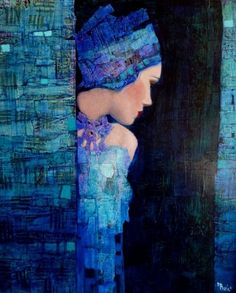 Richard Burlet was born in France in His art is inspired by Art Nouveau, especially Klimt. Gustav Klimt, Richard Burlet, Art Amour, Wow Art, Art For Art Sake, Fine Art, Painting Inspiration, Painting & Drawing, Blue Painting