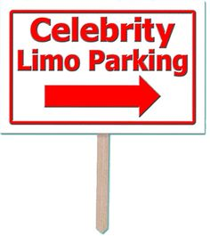 "12"" x 18"" celebrity limo parking design 3-D yard sign. Great for decorating the garden for an award night celebration. Hen Party ideas, hen night fancy dress costumes, hen do ideas, hen party games and decorations"