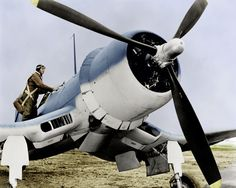 Publicity shot of an early F4U-1, complete with a properly furbished pilot . . .
