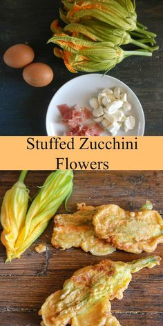 One of the best summer appetizers, a taste of Italy, stuffed zucchini flowers. With prosciutto and mozzarella/. Zucchini Flowers, Zucchini Blossoms, Prosciutto, Mozzarella, Vegetable Dishes, Vegetable Recipes, Best Italian Recipes, Favorite Recipes, Zucchini Zoodles