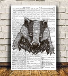 Badger print Animal decor Wildlife poster Dictionary print RTA667 by OneDictionary on Etsy https://www.etsy.com/listing/256350781/badger-print-animal-decor-wildlife