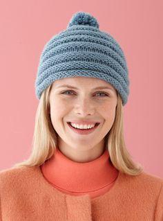 Corrugated Cap in Lion Brand Vanna's Choice - L10541   Knitting Patterns   LoveKnitting