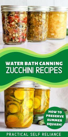 Zucchini Jam, Zucchini Relish Recipes, Canned Zucchini, Zucchini Pickles, Summer Squash Recipes, Zuchinni Recipes, Summer Recipes, Zucchini Squash, Vegan Recipes