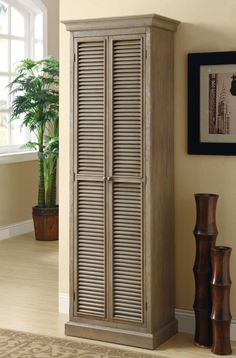 Tall Storage Cabinet with Shutter Door Fronts