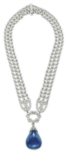 Antique Edwardian seed pearl, sapphire, and diamond sautoir by Cartier, circa 1910s. Via Diamonds in the Library.