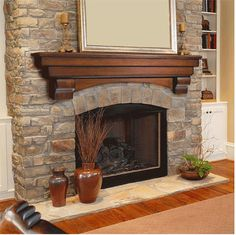 different idea for a fireplace mantle. More elegant, less rustic, for over stone wall.