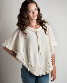 Poncho wool felt merino with bubbles volumes shawl by texturable