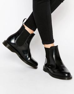 d91c6bbdb73 Dr Martens Kensington Flora Black Chelsea Boots Smooth leather upper  Pull-on style Elastic detailing Back tab Almond toe Air-cushioned sole  Treat with a ...