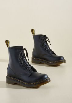 I Like How You Lean Leather Boot in 6 - Flat - Mid-calf by Dr. Martens from ModCloth Sock Shoes, Cute Shoes, Me Too Shoes, Flat Shoes, Black Leather Boots, Leather Shoes, Dr. Martens, Look Fashion, Fashion Shoes