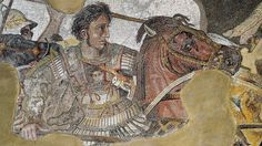 Mosaic found in Pompeii showing Alexander the Great fighting king Darius III of Persia. The original is at the Naples National Archaeological Museum. Dated around 100 BCE..