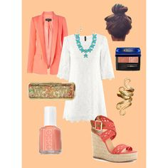 Obsessed with coral, created by megmlee on Polyvore