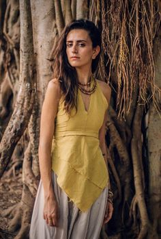 Items similar to Earth Frayed Top ~ Natural Dye ~ Handwoven Cotton. Nomadic Top on Etsy Hippie Tops, Hippie Style, Backless Halter Top, Tribal Top, Boho Fashion, Fashion Outfits, Hand Weaving, Summer Outfits, Trending Outfits