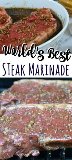 This truly is the Worlds Best Steak Marinade! Try it once and it will become a recipe you use over and over for years. Pin for Later! The most delicious steak marinade that can be used on any red meat/ Steak Marinade Recipes, Meat Marinade, Grilling Recipes, Beef Recipes, Healthy Recipes, Best Marinade For Steak, Steak Marinade Balsamic, Recipies, Best Steak Seasoning