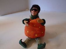 Byers Choice Kindle Halloween Pumpkin Boy Standing Sitting Flexible Masked