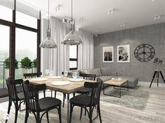 suspenzo_no.22 - Duży salon z jadalnią z tarasem / balkonem, styl industrialny - zdjęcie od suspenzo architectural group