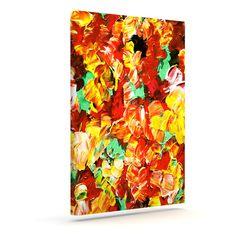 """Ebi Emporium """"Floral Fantasy II"""" Orange Yellow Outdoor Canvas Art"""