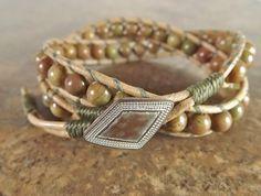2x Leather Wrap Bracelet  Autumn Jasper with Natural by neferknots, $45.00