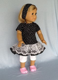 18 inch doll dress, headband, and leggings. Fits American Girl Dolls. Black and…