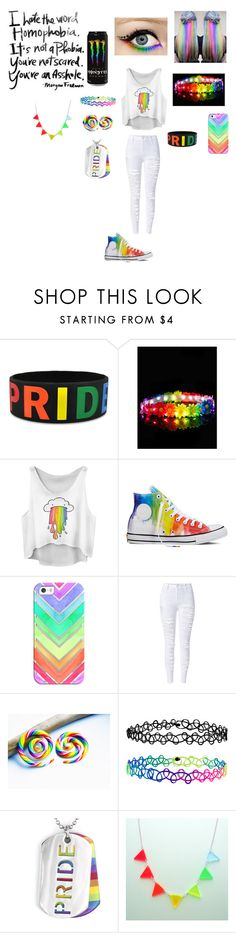 """Gay pride/Rainbow outfit"" by xxbeautysparkxx ❤ liked on Polyvore featuring Converse, Casetify, Accessorize, West Coast Jewelry, rainbow, gaypride and rainbowoutfit"