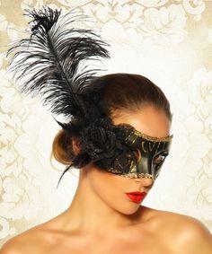 Maske schwarz/gold @Zugeschnürt Shop