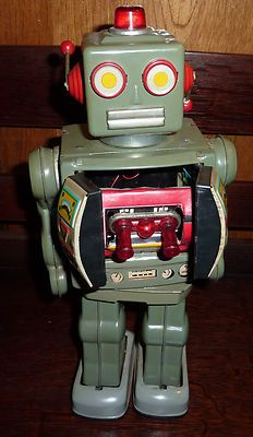 """Vintage 1950's '60's Tin Toy Robot 12"""" I use to have something similar to this,but it was light blue.."""