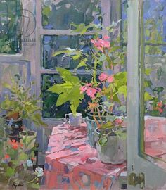 Susan Ryder.  Geraniums and Pink Cloth (oil on canvas)