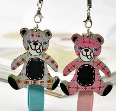 wooden lattice Bear couple phone pendant