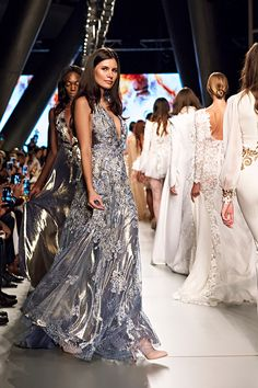 Arab Fashion Week Dubai  Models on the runway Meydan Hotel  Dresses by Sylwia Romaniuk Fashion Designer