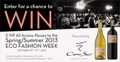 Free VIP Passes to Vancouver Eco Fashion Show from Cono Sur
