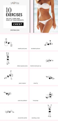 Best CHEST WORKOUT for Women: Lift and Firm your Breasts Naturally! Give your cleavage a natural boost with these 10 chest exercises for women! Firm and lift your breasts, the natural way, tone the pectoral muscles and build strength in the upper body! Chest Workout Women, Best Chest Workout, Workout Plan For Women, Chest Workouts, Gym Workouts, Chest Exercises, Workout Routines, Swimming Workouts, Swimming Tips